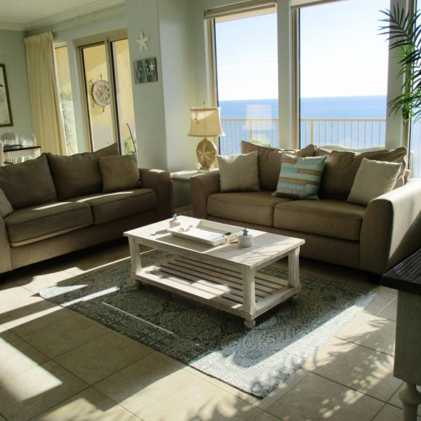 Coastal living room decor with lovely view