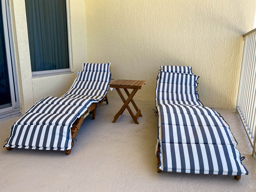 two lounge chairs on patio