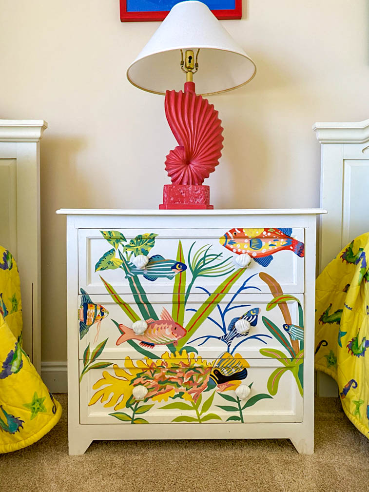 fun dresser painted with fish